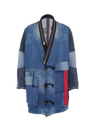 Main View - Click To Enlarge - YVES DELORME - Zip lapel patchwork unisex denim kimono coat