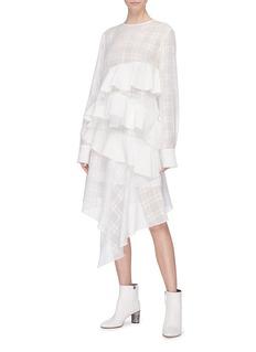 J KOO Ruffle tiered drape flocked houndstooth plaid skirt