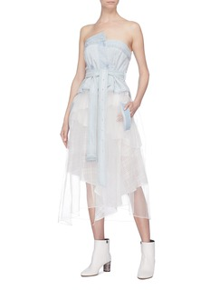 J KOO Belted denim strapless bustier mesh dress