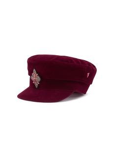My Bob 'Stewart' jewelled brooch velvet boyish cap