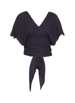 Main View - Click To Enlarge - JACQUEMUS - Sash tie open back wrap cropped top