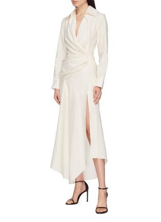 Front View - Click To Enlarge - JACQUEMUS - 'Sabah' twist split hem drape wrap shirt dress
