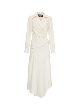 Main View - Click To Enlarge - JACQUEMUS - 'Sabah' twist split hem drape wrap shirt dress