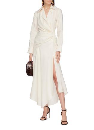 Figure View - Click To Enlarge - JACQUEMUS - 'Sabah' twist split hem drape wrap shirt dress