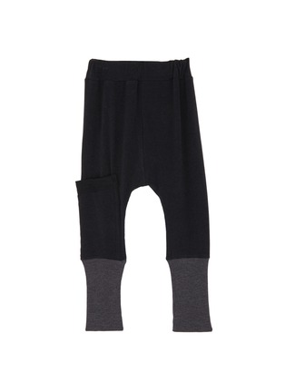 Main View - Click To Enlarge - Wee Monster - Contrast cuff bamboo cotton kids jogging pants