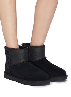 UGG 'Classic Mini' logo print glitter cuff ankle boots