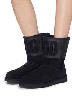 UGG 'Classic Short' logo print glitter cuff ankle boots