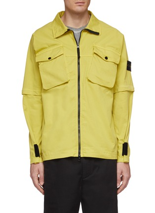 Main View - Click To Enlarge - STONE ISLAND - Detachable sleeve chest pocket shirt jacket