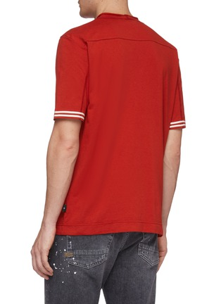 Back View - Click To Enlarge - Stone Island - Logo embroidered stripe cuff T-shirt
