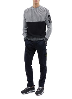 Stone Island Contrast panel stripe sweater
