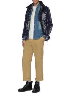 sacai x Dr. Woo floral embroidered pocket denim shirt
