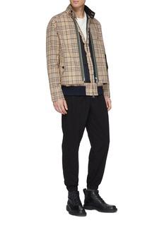 sacai x Dr. Woo spider embroidered layered tartan plaid shirt jacket