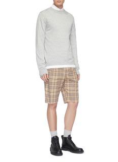 Sacai Belted check plaid shorts