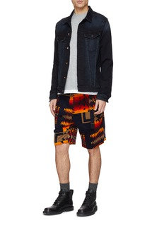 Sacai x Pendleton belted geometric print corduroy shorts