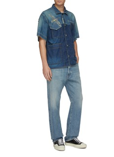 sacai x Dr. Woo graphic embroidered pocket boxy denim shirt