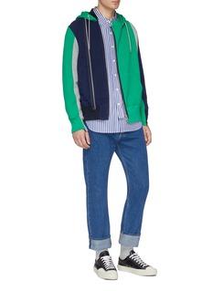 Sacai Layered placket colourblock zip hoodie