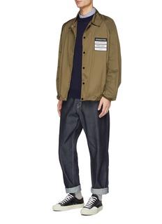 sacai Stripe shirt back cotton sweater