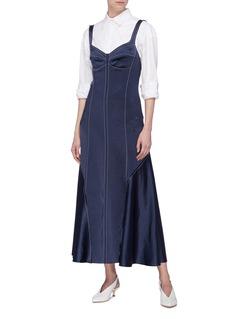 Cédric Charlier Contrast topstitching drape panel sleeveless dress