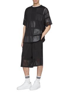Y-3 Open knit patchwork drop crotch shorts