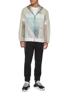 Y-3 Packable colourblock patchwork hooded windbreaker jacket