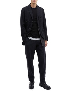 Ziggy Chen Detachable layered hem linen-cotton soft blazer