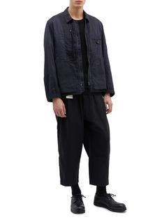Ziggy Chen Pinstripe patchwork shirt jacket