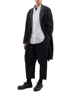 Ziggy Chen Contrast lapel linen-cotton coat