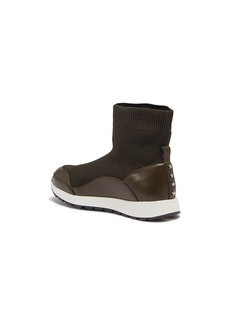 WiNK 'Liquorice' leather trim mid top knit kids sneakers