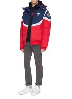 Adidas Logo print colourblock hooded down puffer jacket
