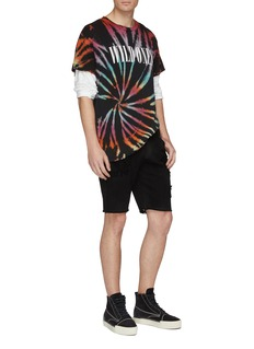 RtA Contrast cross embroidered distressed denim shorts