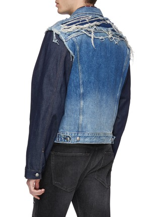 Back View - Click To Enlarge - R13 - 'Sky' distressed patchwork mix denim trucker jacket