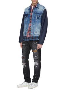 R13 'Sky' distressed patchwork mix denim trucker jacket