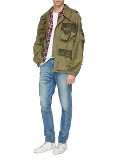 R13 'Boy' paint splatter slim fit jeans