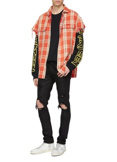 R13 Frayed cuff check plaid oversized short sleeve shirt