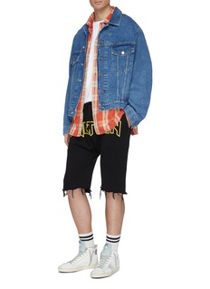 R13 'Rthirteen' slogan print frayed cuff sweat shorts