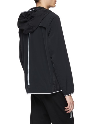 Back View - Click To Enlarge - BLACKBARRETT - Geometric perforated panel water-repellent hooded jacket