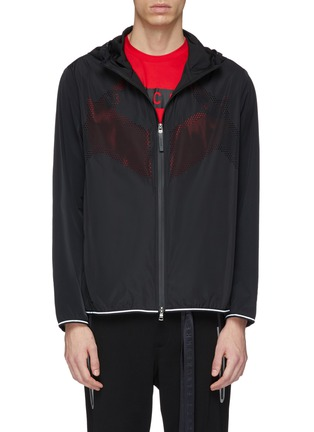 Main View - Click To Enlarge - BLACKBARRETT - Geometric perforated panel water-repellent hooded jacket