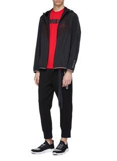 BLACKBARRETT Geometric perforated panel water-repellent hooded jacket