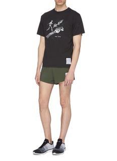 Satisfy 'Short Distance' reflective slogan print perforated running shorts