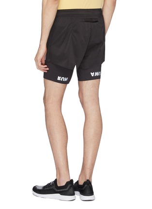 Back View - Click To Enlarge - SATISFY - 'Short Distance' slogan print compression underlay running shorts