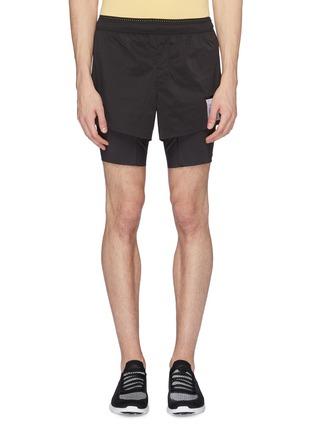 Main View - Click To Enlarge - SATISFY - 'Short Distance' slogan print compression underlay running shorts