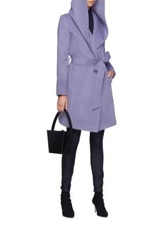 SENTALER Belted hooded ribbed cuff melton wrap coat
