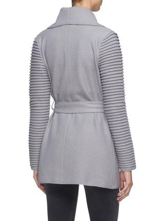 Back View - Click To Enlarge - SENTALER - Belted ribbed sleeve wrap coat