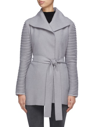 Main View - Click To Enlarge - SENTALER - Belted ribbed sleeve wrap coat