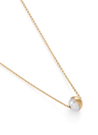 Figure View - Click To Enlarge - SHIHARA - 'Half Pearl 90°' 18k yellow gold pendant necklace
