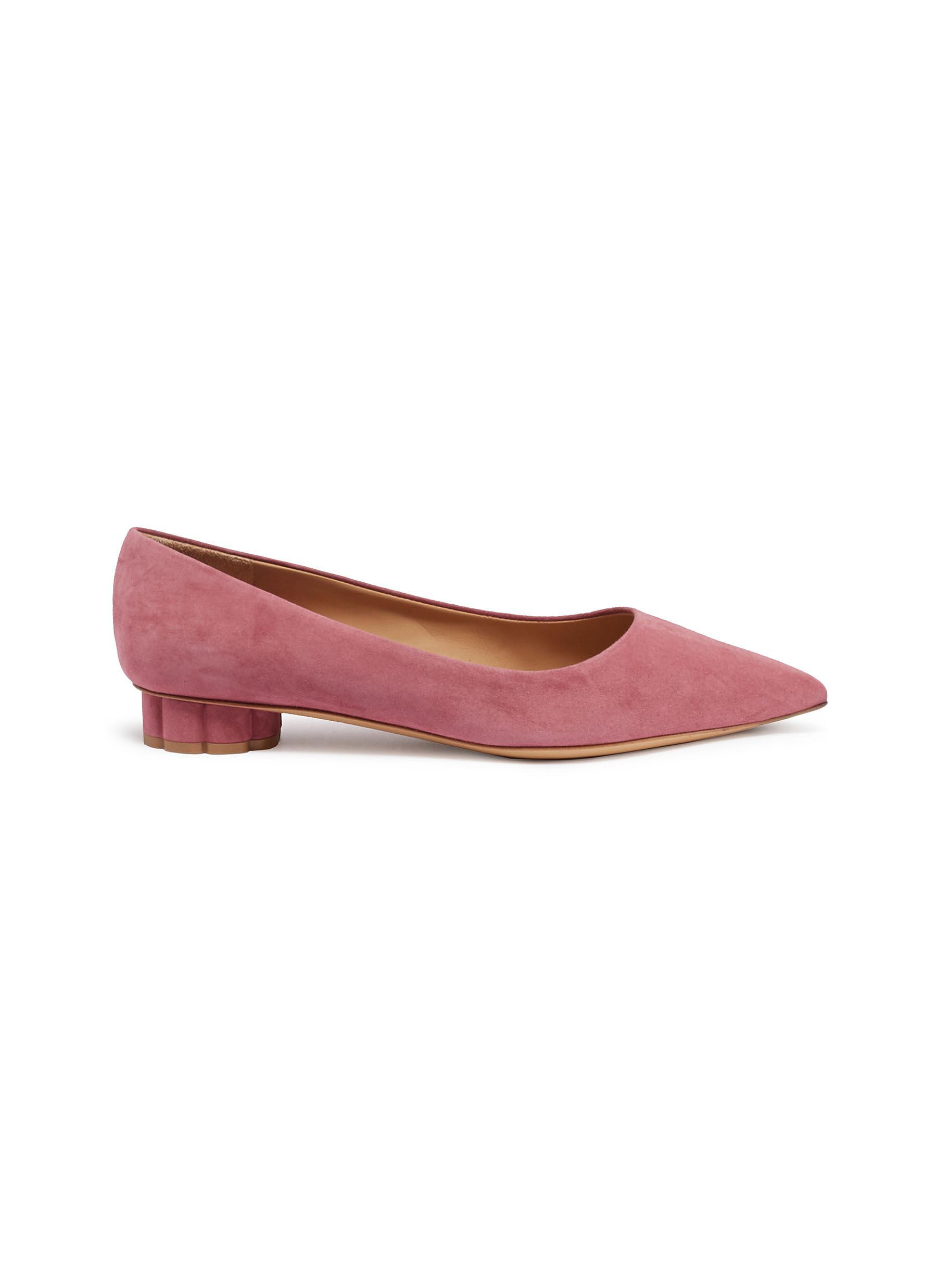 Salvatore Ferragamo Badia Flower Heel Suede Flats Women Lane