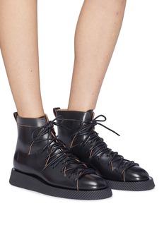 Jil Sander Geometric cutout leather combat boots
