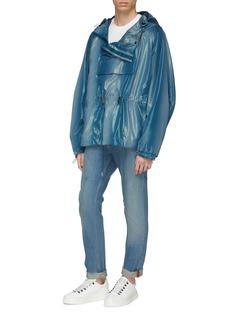 Feng Chen Wang Metallic hooded half-zip anorak