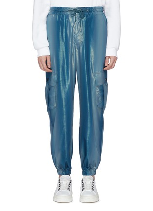 Main View - Click To Enlarge - Feng Chen Wang - Metallic cargo jogging pants