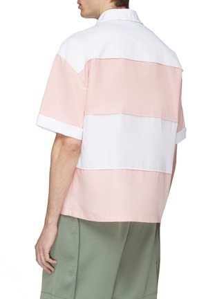 Back View - Click To Enlarge - Feng Chen Wang - Drawstring collar stripe short sleeve shirt